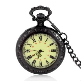 Black Retro Green Dial Roman Number Pocket Watches Quartz Movement with Alloy 15 inch Chain