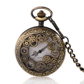 Classic Hollow Gears Pocket Watch Quartz Movement Vintage Bronze