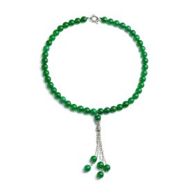 10mm Round Green Malaysia Jade Beaded Necklace