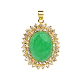 Oval Green Jade Clear Rhinestones Pendants Gold Color Plated Jewelry