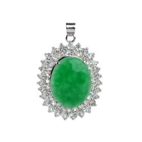 Oval Green Jade Clear Rhinestones Pendants Silver Color Plated Jewelry