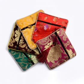 Exquisite Small Zipper Pouch Coin Purse Party Favors Credit Card Bag Satin Fabric Jewelry Pouch Bags 50pcs/lot