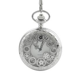 Outstanding Silver Hollow Gears Pocket Watch Quartz Movement