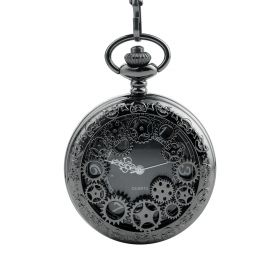 Wonderful Hollow Gears Pocket Watch Quartz Movement Black
