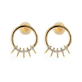 Gold Plated Round Circle Stud Earrings Jewelry Supplies Findings Rhinestone Ear Studs