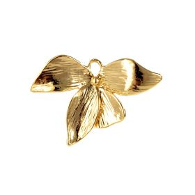 Gold Plated Brass Orchid Flower Charms Pendant for DIY Crafting Jewelry Supplies