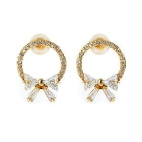 Shiny Rhinestone Paved Circle and Bowkont Stud Earrings for Women Girls Gold Plated Brass Jewelry