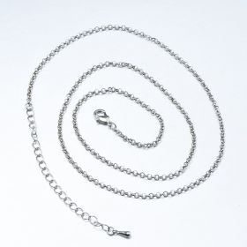 Silver Plated Brass Rolo Chain 2.5mm 23 inches with 3.5-inch Extender Chain and Lobster Claw Clasp