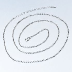 Silver Plated Brass Rolo Finished Chain 2.6mm 32 inch with 3.5 inch Extender Chain