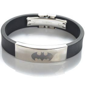 Batman 304 Stainless Steel Black Rubber Bracelet