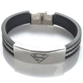 304 Stainless Steel Superman Rubber with Wire Bracelet