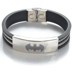 304 Stainless Steel Cable-tows Black Rubber Batman Bracelet