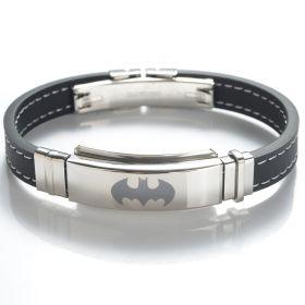 304 Stainless Steel Black Rubber Batman Bracelet Jewelry