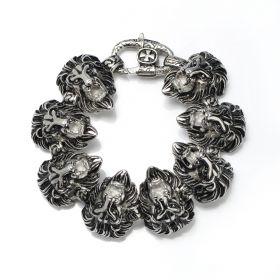Men Gothic Bracelet Lion Stainless Steel Vintage Black Heavy