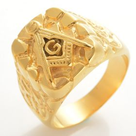 Masonic Ring Rugged Nugget Gold Plated Stainless Steel
