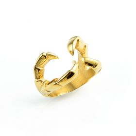 Unique Claws Design Ring Stainless Steel Golden Color for Daily Ornaments