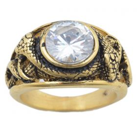 Vintage Cubic Zirconia Snake Carved Ring Stainless Steel Punk Rings for Men Rock Jewelry