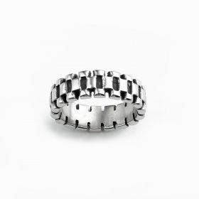 Simple Style Men's Stainless Steel Band Ring for Gift