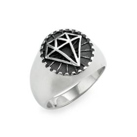 Diamond Shaped Pattern Stainless Steel Men's Ring Punk Jewelry