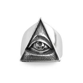 Men's Triangle Eye Vintage Gothic Black Stainless Steel Biker Rings Size 8-13