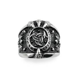 Men's Vintage Wide Stainless Steel Band Rings Claw Design Rock Punk Biker Rings Size 8-13