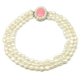 Three Rows 8-9mm Nugget White Freshwater Pearl Necklace for Ladies's Elegant Jewelry