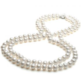 Off-Round 7-8mm AA White Pearl Double Strand Necklace 925 Silver Clasp N19220