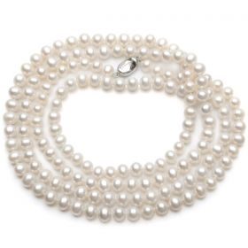 AAA 7-8mm Off-Round White Pearl Rope Long Necklace 48 Inch N2573