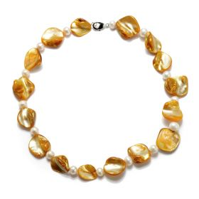 Fashion Irregular Yellow Shell White Potato Freshwater Pearl Necklace 17 Inch