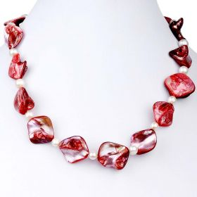 "17"" 6-7mm Potato White Freshwater Pearl, Irregular Red Shell Necklace ND08082"