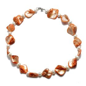 6-7mm Potato White Freshwater Pearl Orange Shell Necklace 17''