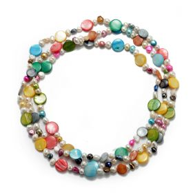 Fashion 60 Inch Long Multi-color Shell Beads Freshwater Cultured Pearls Necklace