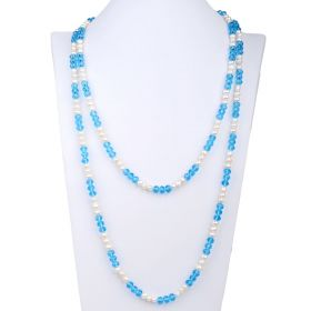 Fashion Blue Crystal and 6-7mm White Freshwater Cultured Pearl Necklace 60 inch