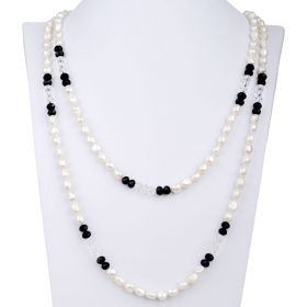 Simple Fashion Black & White Crystal, 8-9mm White Freshwater Cultured Pearl Necklace 60 inch