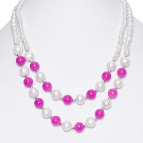 17 inch White Freshwater Cultured Pearls 2-strand Necklace with Round Fuchsia Candy Jade Beads