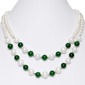 17 inch White Freshwater Cultured Pearls Round Green Malaysia Jade Double Strand Necklace