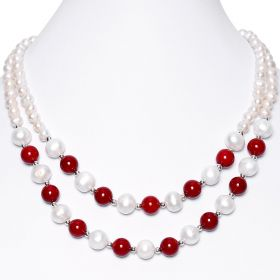 Fashion Women's Two Row White Freshwater Pearl with Red Coral 17 Inch Necklace