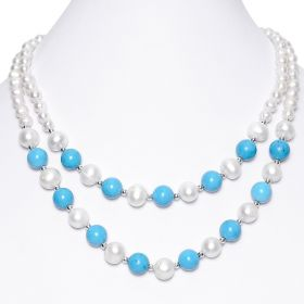 17 Inch White Freshwater Pearl with Blue Turquoise Two Strand Necklace Women's Fashion Jewelry