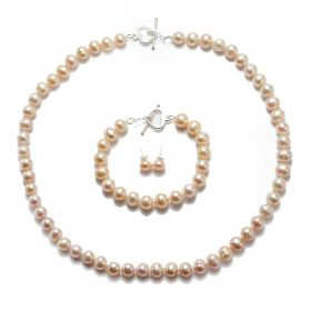 Pink Freshwater Pearl Necklace Bracelet Earrings Jewelry Set with Heart 925 Sterling Silver Clasp