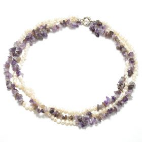 3 Strand White Nugget Pearls Amethyst Chip Necklace For Women Fashion Jewelry