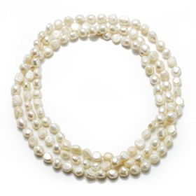8-9mm Natural White Nugget Pearl Rope Necklace for Women Elegant Fashion Jewelry Gifts