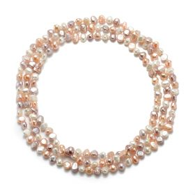 Classic Women's Nugget Mixed Color Freshwater Pearl Rope Strands Necklace