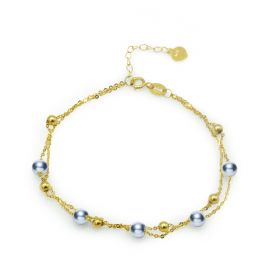 Gray 4-4.5mm Akoya Pearl 18k Gold Two Layer Chain Bracelets Women Fashion Jewelry