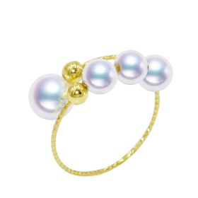 Adjustable Wrap Finger Rings 18 K Gold Akoya Pearl Rings Women Jewelry
