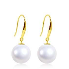 Mother's Day Gift 18 K Gold Round High Luster White  Pearl Dangle Earrings AA+Quality Gifts for Women