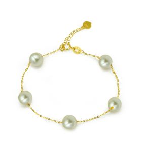Classic 18K Gold Pearl Women Bracelet Chain Fashion Jewelry Ornament