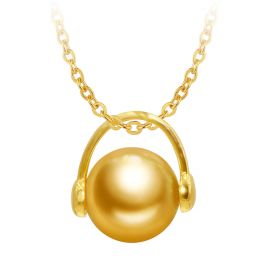 Elegant and Modern 18K Solid Yellow Gold South Sea Pearl Pendant in Headset Shape Design