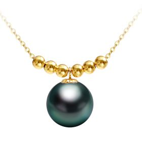 Tahitian Pearl  Necklace AAA Best Quality Round shape 18 K Gold Tahitian Pearl Pendant Necklace
