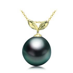 Classic Single Black Saltwater Tahitian Pearl Pendant in 18k Yellow Gold 11-12mm
