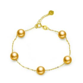 Charm 18k Gold Strand Link Chain Bracelet Bangle with 7-7.5mm Gold Pearls